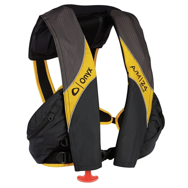 Onyx a/m 24 deluxe inflatable life jacket carbon/yellow