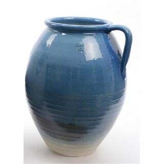"14"" Seaside Treasures Hand Crafted True Blue Embossed Jug Style Vase"