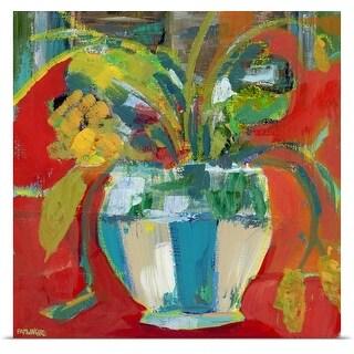 Pamela J. Wingard Poster Print entitled Abstract Floral Red Aqua II