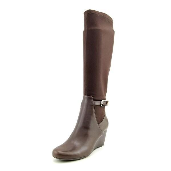 Isaac Mizrahi Krystal Women Round Toe Leather Brown Knee High Boot