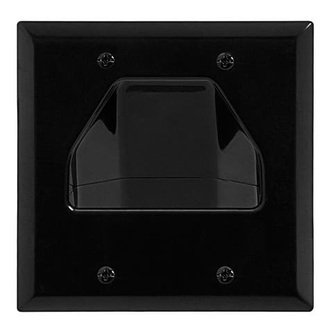 DataComm 45-0002-BK Two-Gang Low-Voltage Cable Wall Plate For Multiple Cables - Black