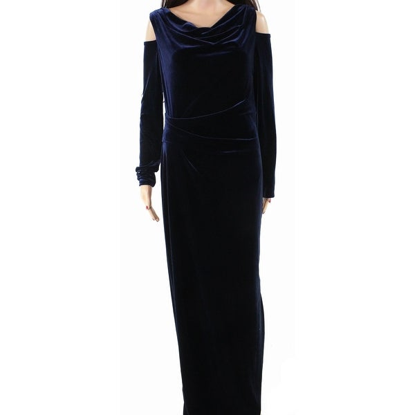 Vince Camuto Womens Cold-Shoulder Velvet Gown Dress