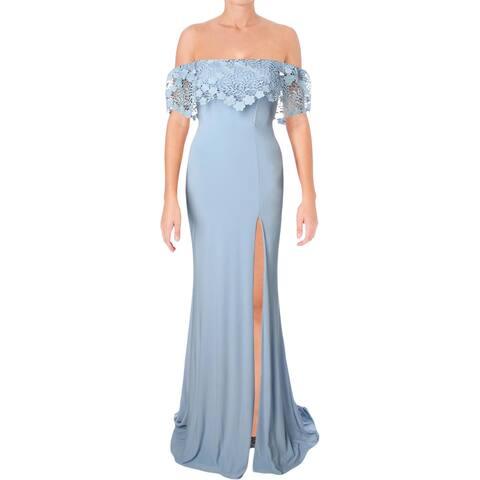 Faviana Womens Evening Dress Prom Lace-Trim