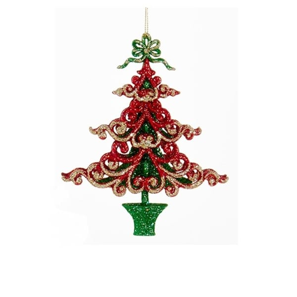 "6"" Decorative Red and Green Tree in a Pot Hanging Christmas Ornament"
