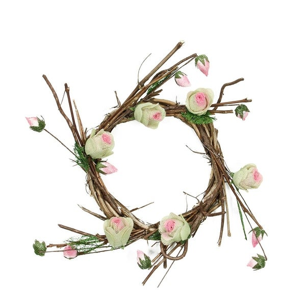 """11"""" Brown, Cream and Pink Decorative Artificial Spring Floral Twig Wreath - Unlit"""