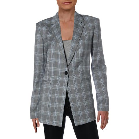 Theory Womens Power One-Button Blazer Check Print Business