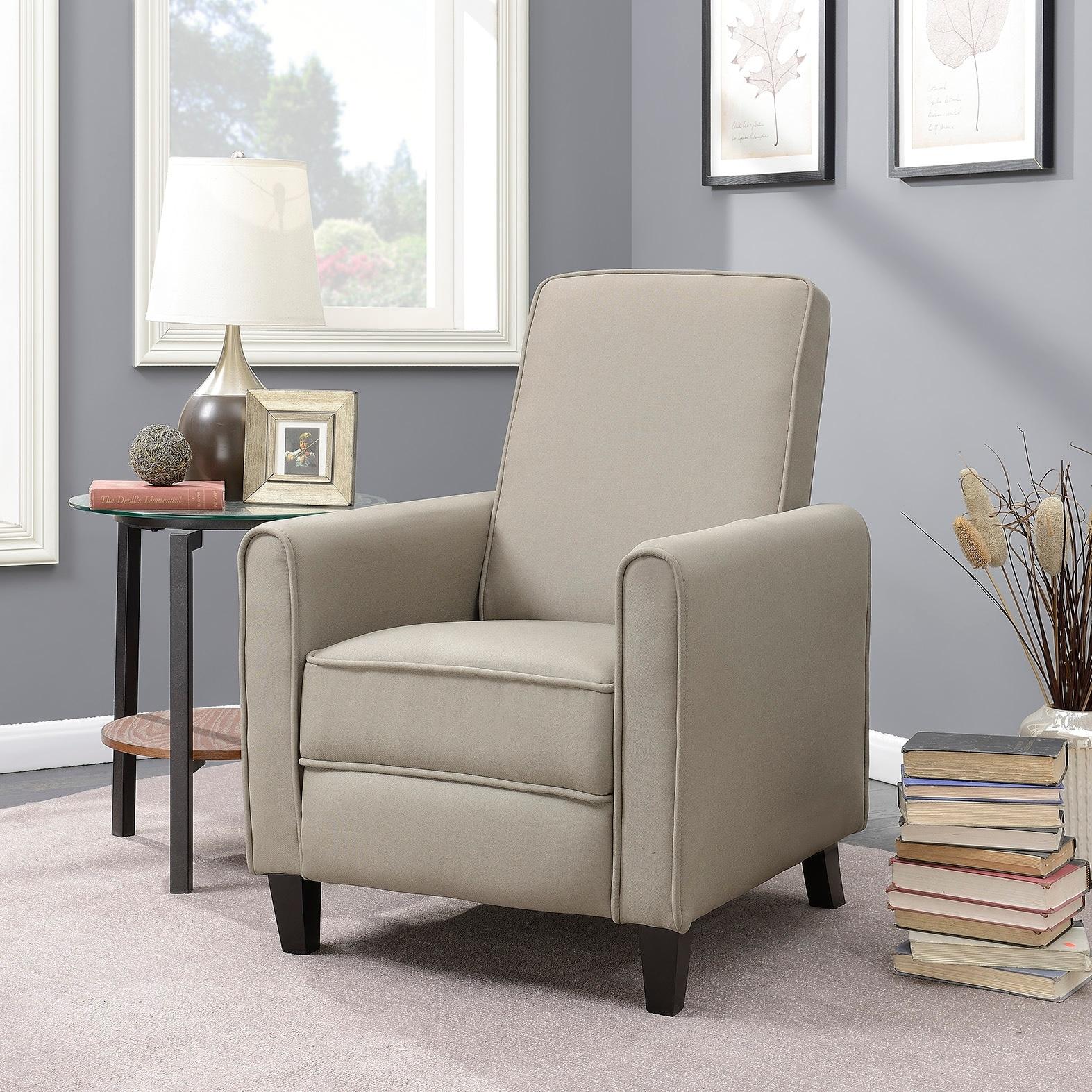 Belleze Modern Recliner Club Chair Accent Living Room Linen W Footrest Taupe