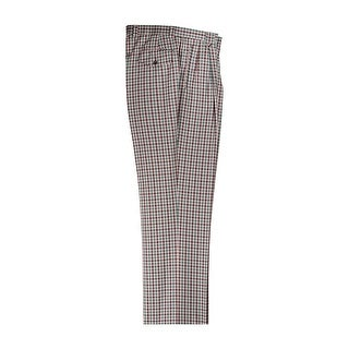 Green, Brown and Cream Check Pattern Wide Leg Dress Pants Pure Wool by Tiglio Luxe (Option: 50 Inch)