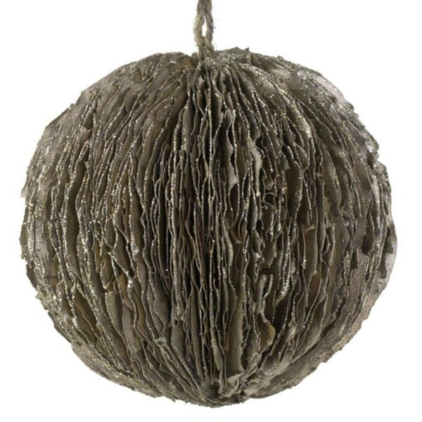 """5"""" Silent Luxury Glittery Champagne Colored Leaf Ball Christmas Ornament - brown"""