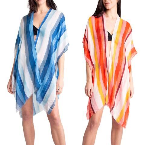 Women's Kimono Summer Striped Print Lightweight Long Top Cover Beachwear Dress - One Size