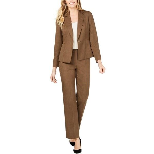 Le Suit Womens Peak Lapel One Button Blazer Jacket, Brown, 4P. Opens flyout.