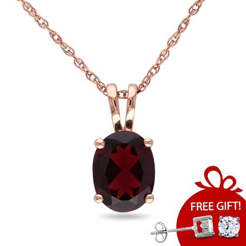 Miadora 10k Rose Gold 1 1/3ct TGW Garnet Solitaire Necklace