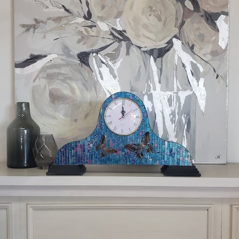Porch & Den Wilkins 20-inch Mosaic Glass Mantle Clock