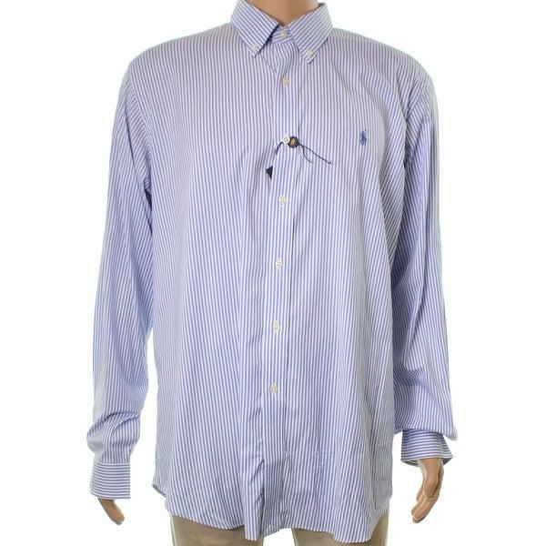 26b0b9248f Shop Ralph Lauren NEW Blue White Mens Size XL Button Down Striped Shirt - Free  Shipping Today - Overstock.com - 21223850