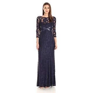 Adrianna Papell Women's L/s Lace Gown With Beaded Detail (More options available)