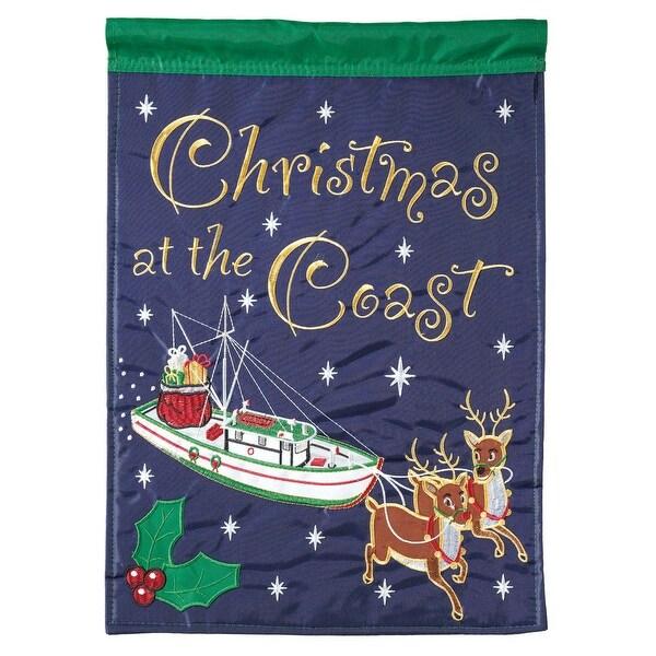 "Navy Blue and Green Shrimp Boat Reindeer Christmas Garden Flag 18"" x 13"" - N/A"