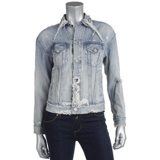 Denim & Supply Ralph Lauren Womens Denim Jacket Denim Distressed - s