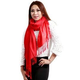 """Fringed Pashmina Silk Large Scarf, 27""""x72"""", Red"""