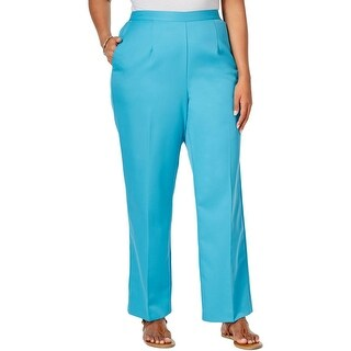Alfred Dunner Womens Plus Cozumel Casual Pants Twill Flat Front