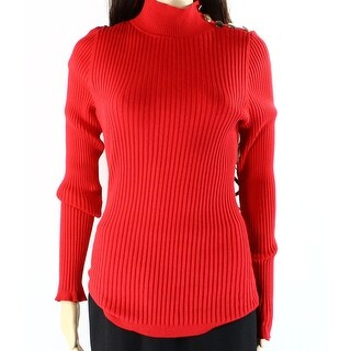 INC NEW Amore Red Womens Size Large L Turtleneck Ribbed Knit Sweater