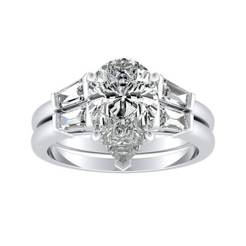 Auriya 2 1/2ctw Pear-cut Diamond Engagement Ring Set Platinum Certified
