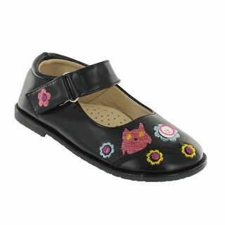Cookie Smoochie Lulu Mary Jane Flat with Owl Embroidery (Option: Faux Leather)