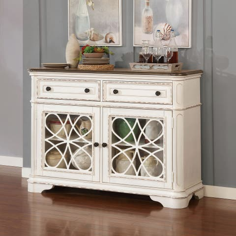 Furniture of America Fant Traditional White Wash and Walnut Server