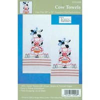 "Cow - Stamped Kitchen Towels For Embroidery 20""X28"" 2/Pkg"