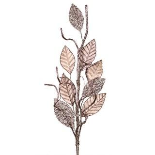 """Pack of 6 Velvet Magnolia Glittered Leaf Artificial Christmas Sprays 36"""""""