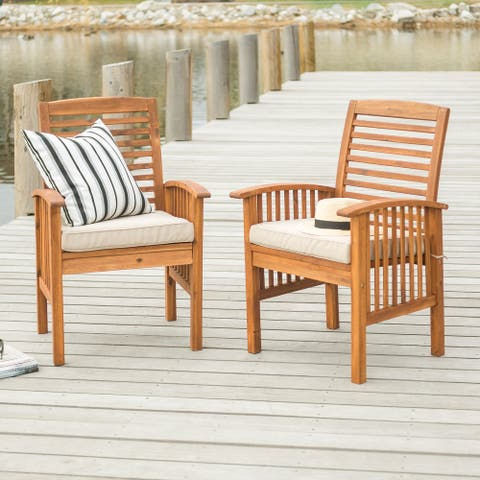 Surfside Acacia Brown Wood Patio Chairs, Set of 2, by Havenside Home