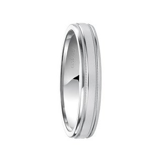 PERFECTION 14k White Gold Wedding Band Flat Brushed Finish with Dual Milgrain Rolled Edges by Artcarved - 4mm