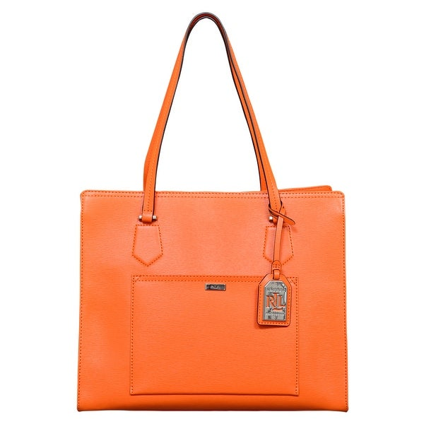 43ec12f6beb25 ... best price ralph lauren leather lowell tote handbag in kumquat 7e132  6677e