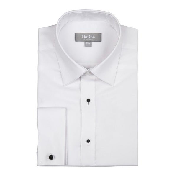Men's Textured Regular Fit French Cuff Lay down Cotton Tuxedo Shirt. Opens flyout.