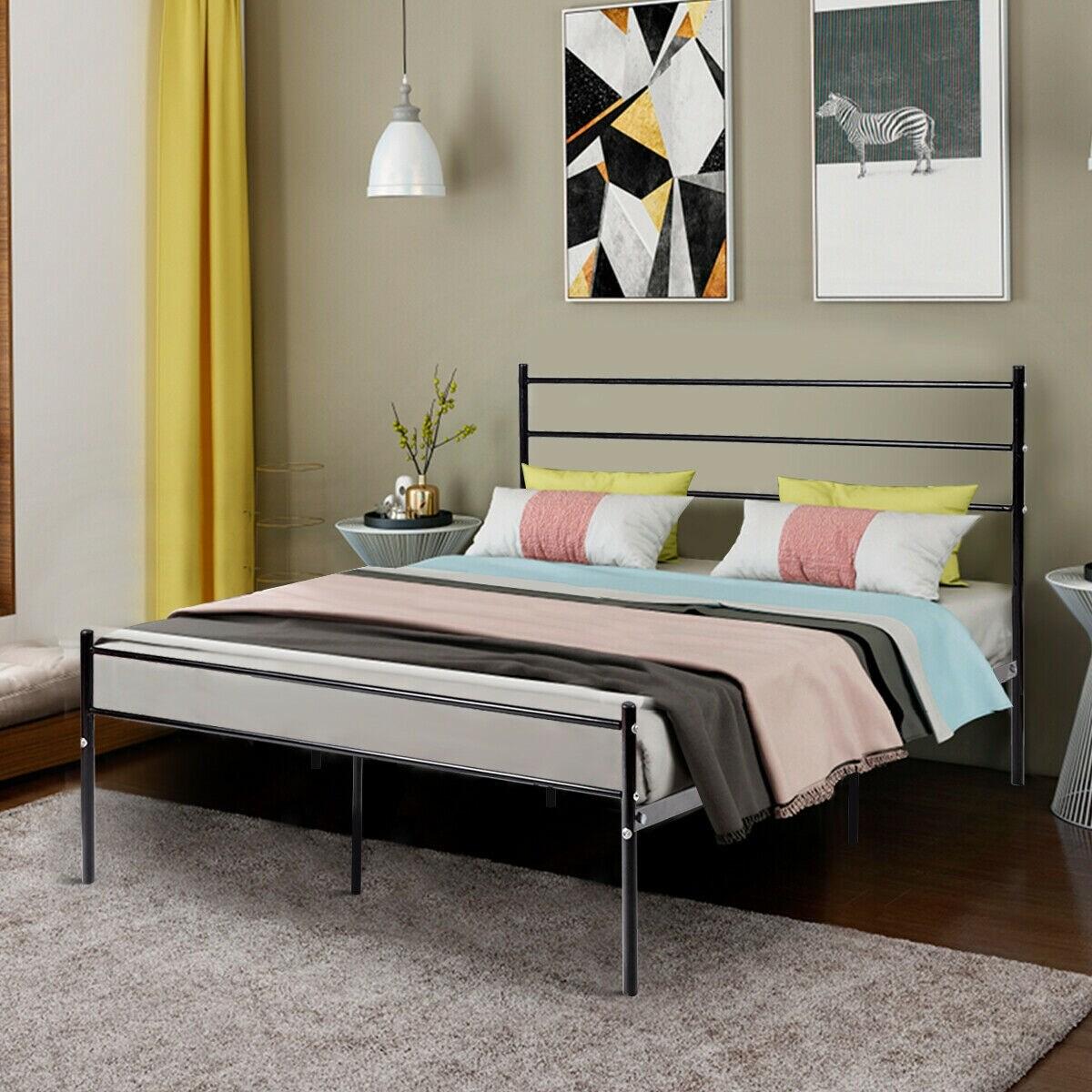 Shop Costway Black Full Size Metal Bed Frame Platform Headboard 10