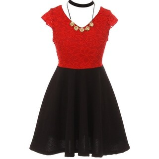 Floral Lace Top Necklace Flower Girl Dress USA Red JKS 2107
