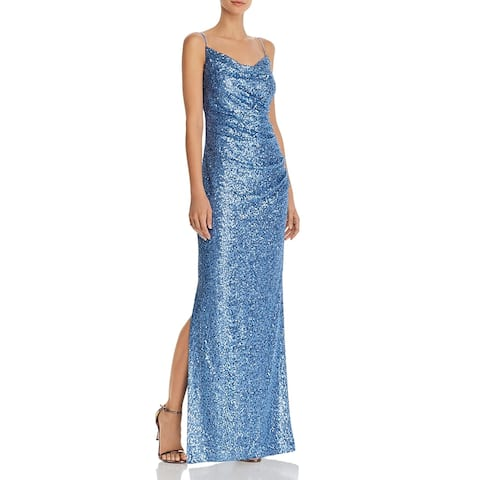 Laundry by Shelli Segal Women's Sequined Sleeveless Ruched Full Length Gown - Blue