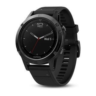 "Garmin fenix 5 1.2"" Multipsort GPS Watch w/ Custom POIs & Long Battery Life - Black Band|https://ak1.ostkcdn.com/images/products/is/images/direct/66b443f54cab7d138e92402d98a604a398c8d95c/Garmin-Fenix-5-Slate-Gray-With-Black-Band-Fenix-5-Multisport-GPS-Watches-for-Fitness.jpg?impolicy=medium"