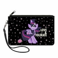 Twilight Sparkle Love Tolerate Stars Black Purple Canvas Zipper Wallet