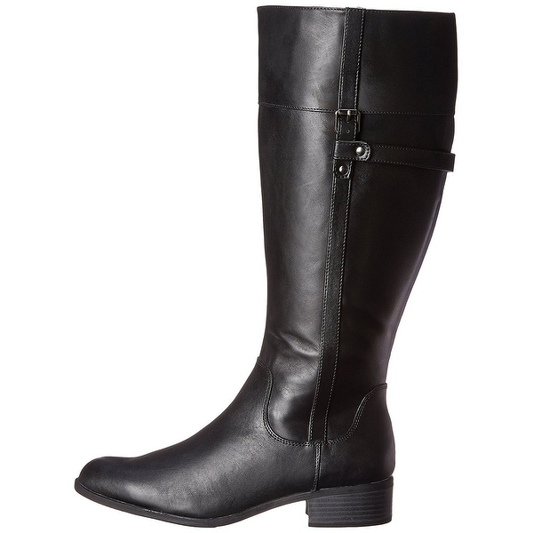 Easy Spirit Womens Domina WIDE CALF Leather Closed Toe Knee High Riding Boots