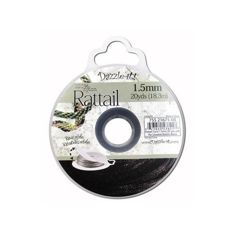 Dazzle It Rattail Cord 1.5mm 20yd Black