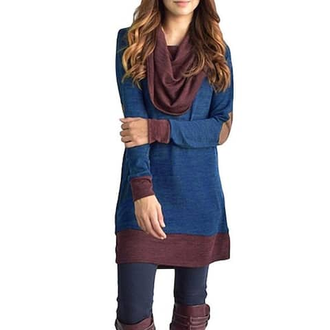 Winter Pullover Long Sleeve Cowl Neck Patchwork Outerwear Casual Top