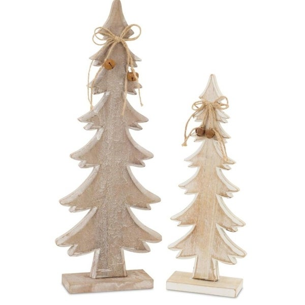 Pack of 4 Decorative Brown Wooden Tree with Bell