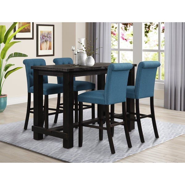 Leviton Antique Black Finished Wood 5-Piece Pub Set, Table with 4 Upholstered Barstools. Opens flyout.