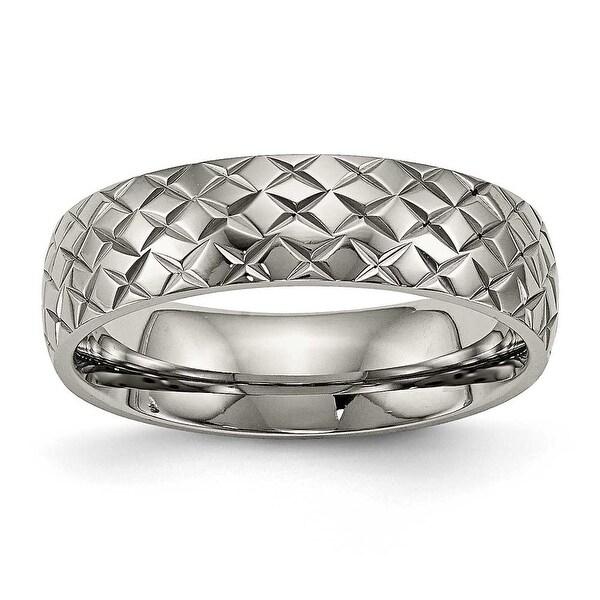 Titanium Polished Textured Ring (6 mm)
