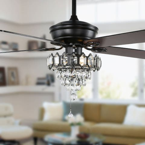 """52"""" Modern Crystal Ceiling Fan with 5 Reversible Blades, Remote Control"""