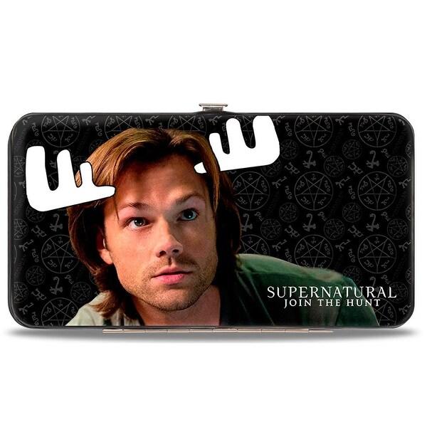 Supernatural Sam Moose + Dean Squirrel Poses Scattered Symbols Black Gray Hinge Wallet - One Size Fits most
