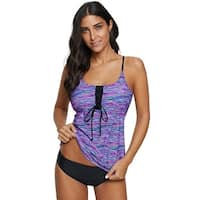 Cali Chic Women's Swimwear Two Piece Celebrity Blue Banded Printed Tankini Top with Triangle Briefs