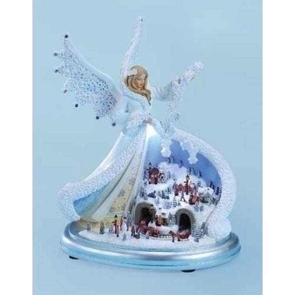"10.75"" Amusements LED Lighted Musical Angel with Winter Town Scene Christmas Decoration - WHITE"