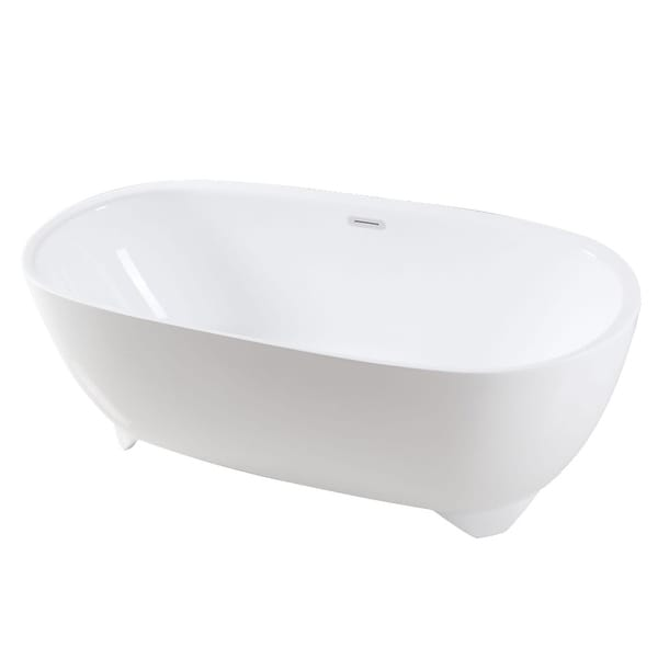 """Kingston Brass VTDE673123S Aqua Eden 67"""" Free Standing Acrylic Soaking Tub with Center Drain, Drain Assembly, and Overflow"""