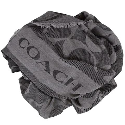 Coach Grey Black Wool Blend Signature Border Scarf Shawl